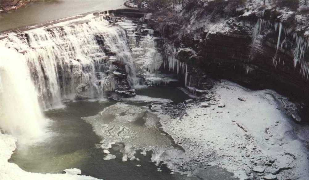 Winter picture of Rochester Lower Falls in the Genesee River